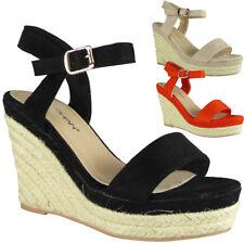 Womens Ladies Platform Party Espadrilles Suede Platform Shoes Wedge Sandals Size