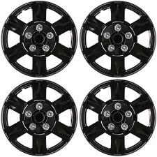 "4 Pc Set of 15"" ICE BLACK Hub Caps Skin Rim Cover for Steel Wheel Cap Covers"