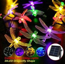 20 LED Solar Fairy String Lights Dragonfly Waterproof Outdoor Garden Party Lamps