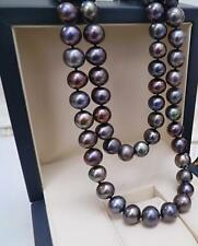 """38""""9-10mm tahitian black round pearl necklace 14k"""