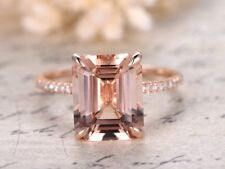 2ct Emerald Cut Peach Morganite Solitaire Engagement Ring 14k Rose Gold Finish