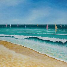 Original Artwork Seascape Art Yachts Acrylic Painting On Canvas By Warren Green