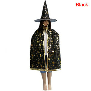 2Pcs/Set Kids Childrens' Halloween Costume Witch Cloak Cape and Hat Cosplay P J2