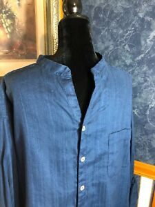 Caribbean NWT Linen 2XB Blend Navy Long Sleeve Mandarin Collar Shirt