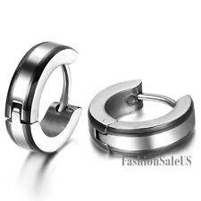 4mm Polished Stainless Steel Men's Fashion Hoop Huggies Ear Studs Plugs Earrings