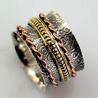 Solid 925 Sterling Silver Spinner Ring Meditation Statement Ring V1040