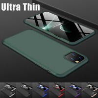 For Apple iPhone 11/Pro/Pro Max Slim Luxury Hard Full Cover Case+Tempered Glass