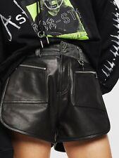 Diesel L-FARA Leather shorts black with denim waist New size 28 US 8