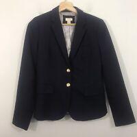 J Crew Factory Schoolboy Blazer Wool Blend Navy Blue Women's 4