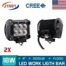 2pcs 18W CREE LED Work Light Bar 4WD Flood Beam Offroad Driving Fog JEEP UTE SUV