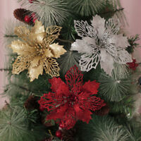Romantic Glitter Christmas Poinsettia Hanging Flower Clip On Xmas Tree Decor