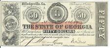 $50 1863 Georgia Milledgeville Error Misaligned Red Overprint #14659 Rattlesnake