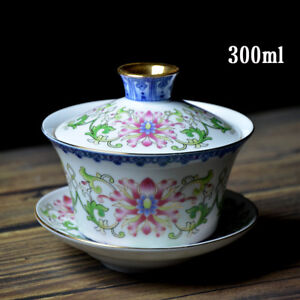 10oz big gaiwan porcelain tureen covered bowl cup saucer handpainted tea bowls