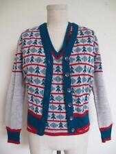 Vintage 70s Christmas Twin Set Cardigan Vest S M Red Green Trees Indie Hip Ugly?