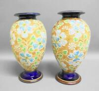 Edwardian Pair of Royal Doulton SLATERS Patent Vases by ROSINA BROWN c1905