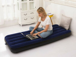 Inflatable Single Flocked Air Bed Camping Luxury Relaxing Airbed Mattress C