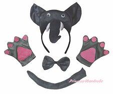 Halloween School Party Gray 3D Elephant Headband Paw Tail Bow Child Kids Costume