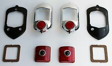 1951-52 Red Blue Dot Tail Light & Bezel Set - 8PC