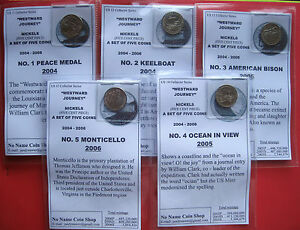 US  WESTWARD JOURNEY SET OF FIVE  (NICKEL) COINS  2004-6  P MINT  B/UNCIRCULATED