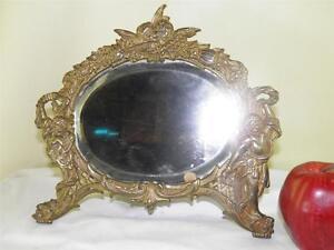 ANTIQUE FIGURAL ANGELS ORNATE BRONZED VANITY DRESSER TABLE BEVELED MIRROR FRAME