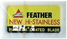 50 FEATHER Hi-Stainless Platinum Coated Double Edge Razor Blades - Made in Japan