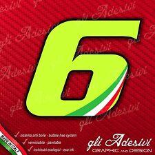 Adesivo Stickers NUMERO 6 moto auto cross gara Verde Acido Kawa & Tricolore 5 cm