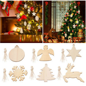 Pack of 60 Assorted Styles Wooden Christmas Tree Hanging Pendant Decorations