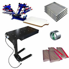 4 Color 1 Station Screen Printing Kit with Flash Dryer & Screen Frame /Squeegees