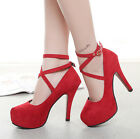 New Fashion Womens Ankle Strap Platform Stiletto Wedding High Heels Pumps Shoes
