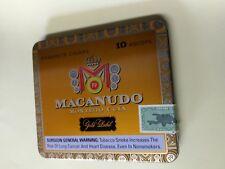 Macanudo Montego Y Cia Ascots Hinged Metal Tin Cigar Box Dominicana Stamp empty