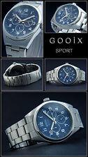 New Aviator Watch XXXL Large 48mm Multi Function Calendar Discreet Blue 5 Bar