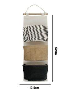 Porta Oggetti Organizer Da Appendere 3 Tasche In Tessuto Bagno Camera 10478 dfh