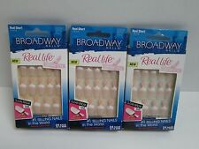 BROADWAY REAL LIFE FRENCH NAILS REAL SHORT NAIL KIT - 00554 BSF02 PINK - 3 BOXES