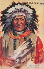 L Peterson~Chief Big Feather~Indian Headdress~Feathers in Hand~1912 Embossed PC