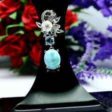 NATURAL 9X11mm. BLUE LARIMAR TOPAZ MOTHER OF PEARL CARVED CZ PENDANT 925 SILVER