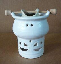 Ceramic Oil Burner, White with Round Windows, New in Box