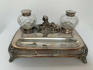 Egyptian Revival Sphinx Silver Plated Desk Stand Pen Tray Inkwell