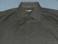 Men's Dolce & Gabbana Black w/Subtle Stripes Long Sleeve Shirt 17  Made in Italy