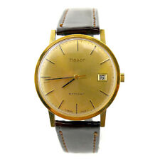 TISSOT STYLIST GOLD DIAL 14K GOLD HAND-WIDING VINTAGE DATE MENS WATCH ON STRAP