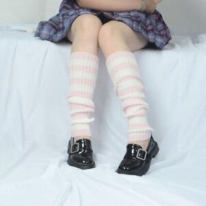 Goth Striped Women Leg Warmer Cute Jk Stretch Knee-length Hipster Warm Knit Sock