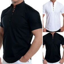 Mens Slim Fit Henley Shirts Short Sleeve Button V-neck Tee T-shirt Casual Tops