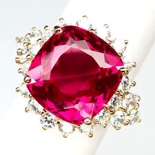 TOPAZ PINK RASPBERRY 21 CT. SAPPHIRE 925 STERLING SILVER ROSE GOLD RING SZ 8.25