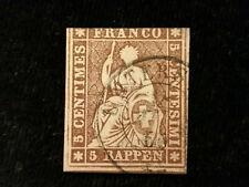 Schweiz Helvetia ab 1854 - Sitzende Helvetia (sog. Strubel) 5 Rappen     Nr.2