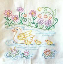 DUCKS IN A ROW PATTERN MACHINE EMBROIDERED FLOUR SACK DISH TOWEL