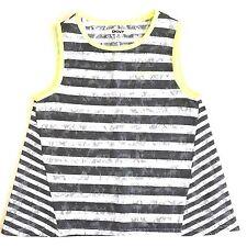 DKNY Girls Tank Top Size Medium Black White Striped Lace