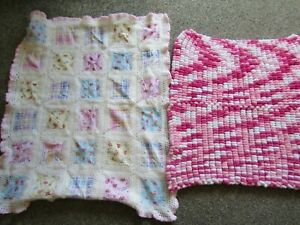 X2 GIRLS / BABY'S GORGEOUS  KNITTED / CROCHET PINK BLANKETS moses basket / pram