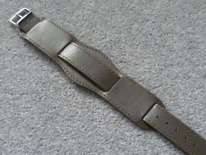 Mens 20mm quality brown genuine leather watchstrap watchband military army bund