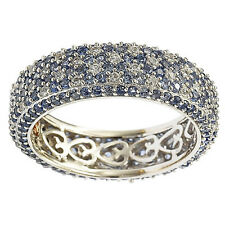 Suzy Levian Sterling Silver Sapphire Eternity Band