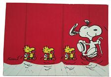 Unused Snoopy Woodstock Hat Peanuts Vintage Blank Trifold Postcard Hallmark 3x5