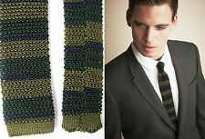 $195 RUNWAY Burberry Prorsum Silk College Striped Knitted Tie Green Men Gift NEW
